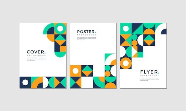 Set di design geometrico moderno di copertina, poster e flyer