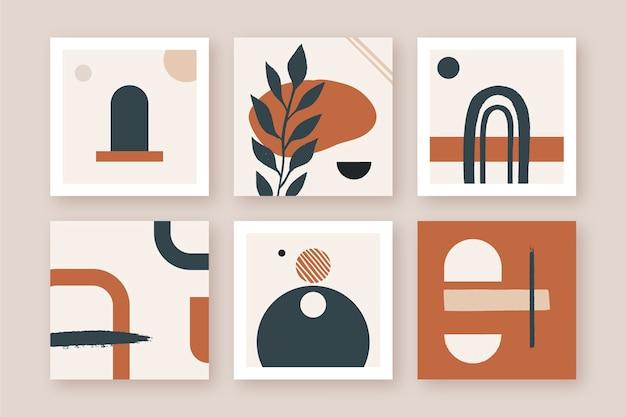 Set di illustrazione geometrica dipinta a mano moderna