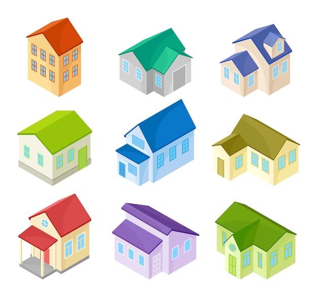 Insieme di case moderne con tetti multicolori