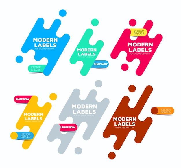Set di etichette moderne. distintivi moderni colorati. banner del sito web con pulsante. può essere utilizzato per la vendita e lo sconto.