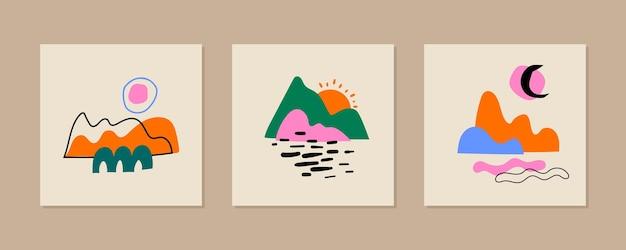 Insieme di paesaggi moderni. poster astratti contemporanei con forme colorate, gocce, linee e oggetti scarabocchiati.