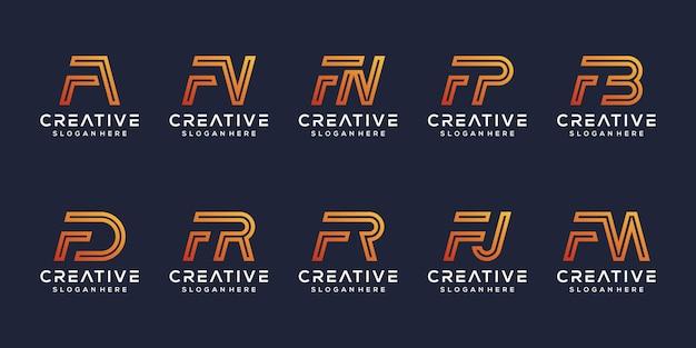 Imposta il modello di logo della lettera f moderna