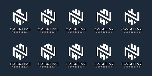 Imposta il design del logo della lettera h moderna