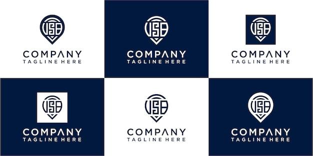 Set di lettere moderne sos moogram logo design