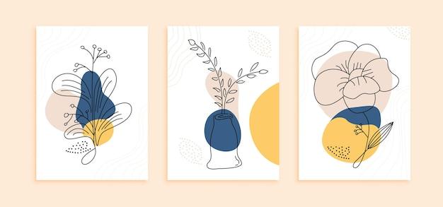 Set di modello di manifesto di fiori di linea moderna arte. parete decorazione astratta con concetto di design minimalista colore pastello pastel Vettore Premium