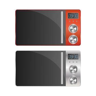 Set di forni a microonde moderni. elegante microonde isolato su uno sfondo bianco. vettore realistico.