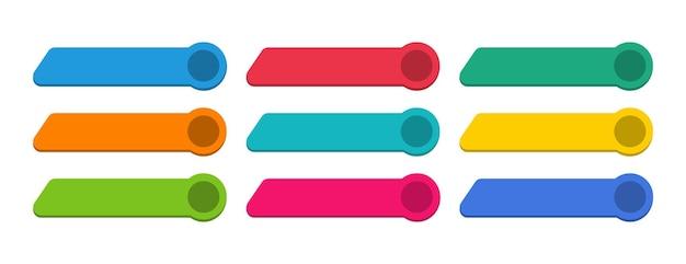 Set di pulsanti multicolori moderni per il sito web. modello vuoto di pulsanti web.