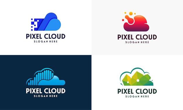 L'insieme del logo moderno pixel cloud progetta il vettore del concetto, il modello del logo cloud tech, il modello dell'icona del simbolo del logo tecnologico