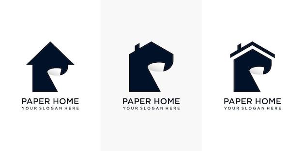 Set di design del logo di carta per la casa moderna e semplice con biglietto da visita. stemma di una cartiera. la mela come un rotolo di carta. vettore premium