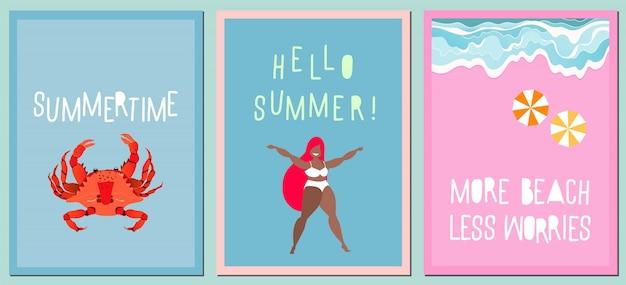 Set di cartoline d'auguri estate moderna. varietà di carte disegnate a mano, poster. citazioni scritte a mano moderne sull'estate. concetto di vacanze e viaggi. onde sulla riva del mare, granchio rosso e ragazza felice.