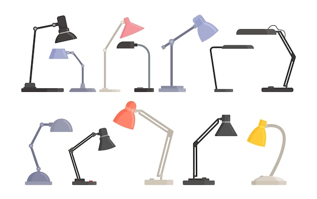 Set di lampade da tavolo moderne trasformabili per il lavoro e l'illuminazione della stanza. lampadine da scrivania, forniture elettriche per la decorazione domestica di vari design alla moda isolati su sfondo bianco. fumetto illustrazione vettoriale
