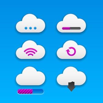 Set di pulsanti cloud moderni e alla moda per app e progetti di siti web. neomorfismo