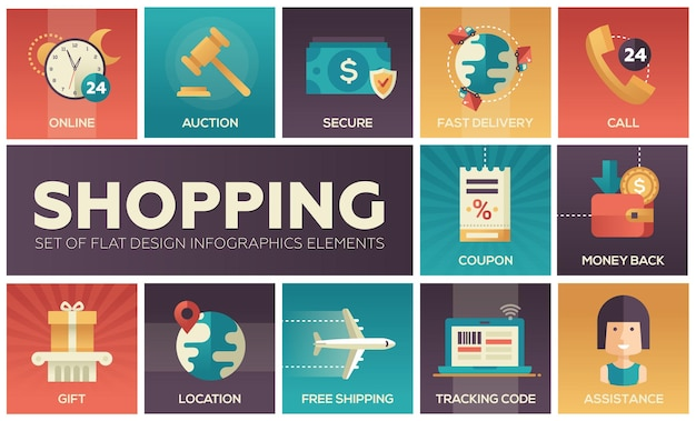 Set di icone moderne di design piatto vettoriale di elementi del processo di acquisto. online, sicuro, consegna, asta, coupon, assistenza, chiamata, posizione, codice di monitoraggio, regalo, rimborso, spedizione