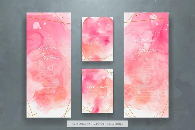 Set di modello di invito a nozze moderno con acquerello liquido disegnato a mano astratto