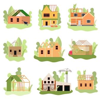 Insieme di case moderne in legno o pietra in costruzione