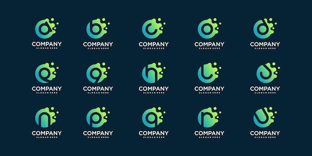 Set di molecola lettera logo con moderno concetto astratto