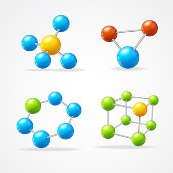 Set di molecule set isolato su bianco