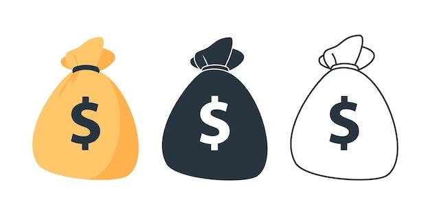 Set di icone della borsa dei soldi icona della borsa dei soldi della linea sacco bianco e nero borsa piatta dei soldi