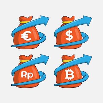 Set di sacchi di denaro con diverse valute