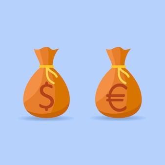 L'insieme delle borse dei soldi con il dollaro e l'euro firma dentro lo stile piano.
