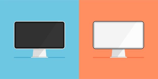 Set di monitor con display bianco e nero icona del computer con schermo vuoto o vuoto isolata