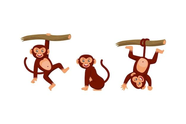Set di scimmie varie pose character design illustration
