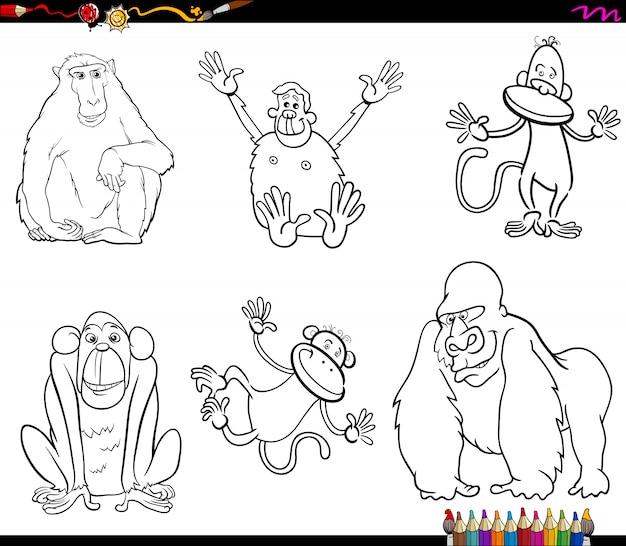 Set di caratteri a colori animali scimmie