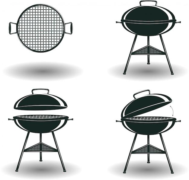 Insieme dei segni monocromatici barbecue grill