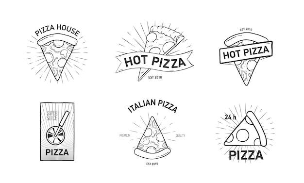 Set di loghi monocromatici con fette di pizza e taglierina a rotella disegnati a mano in elegante stile vintage. illustrazione vettoriale per etichetta o logo del ristorante di cucina italiana, servizio di consegna cibo.