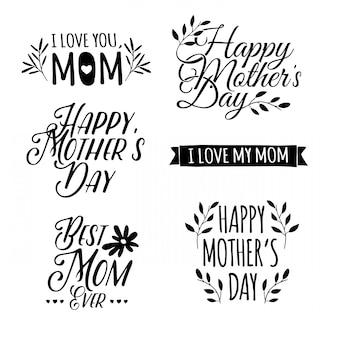 Set di bianco e nero di semplici lettere retrò della festa della mamma