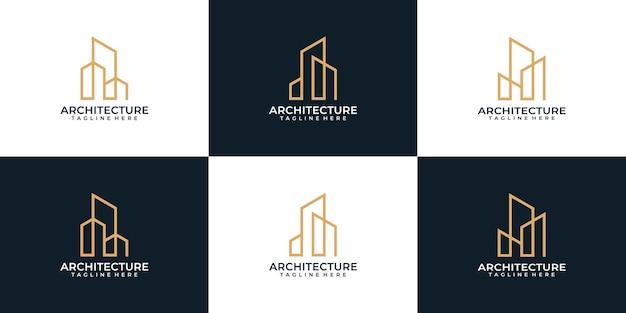 Set di design del logo della proprietà della grafica immobiliare dell'architettura del monogramma
