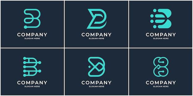 Set di modello di logo monogramma b. collezione di logo bb lettera iniziale creativa.