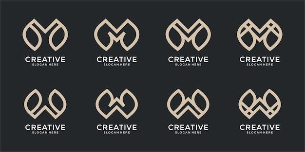 Set di combinazione di monogrammi lettera m e m modello di progettazione del logo