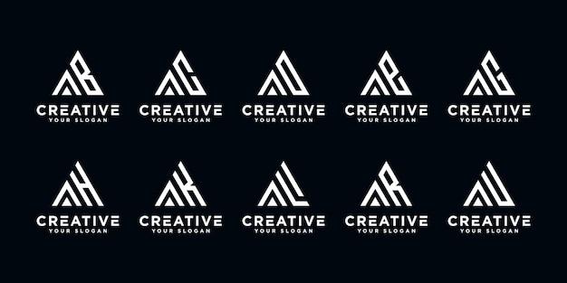 Set di monogramma creativo lettera a ed ecc logo modello. icone per affari di lusso, eleganti, semplici.
