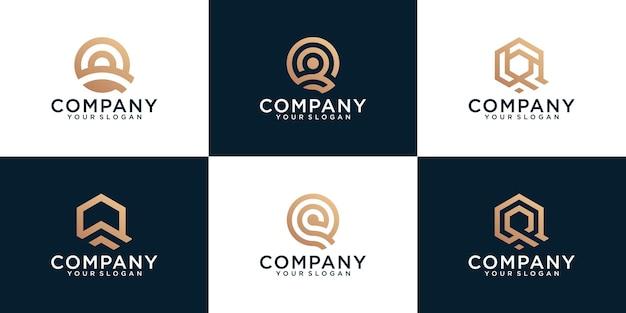 Set di modello di logo lettera creativa monogramma Vettore Premium