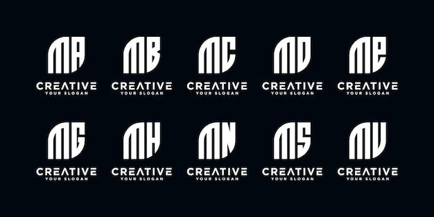 Set di monogramma lettera creativa m ed ecc modello di logo. icone per affari di lusso, eleganti, semplici