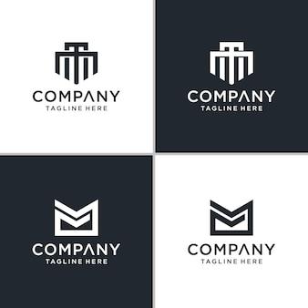 Set di monogramma creativo lettera mm logo ispirazione astratta.
