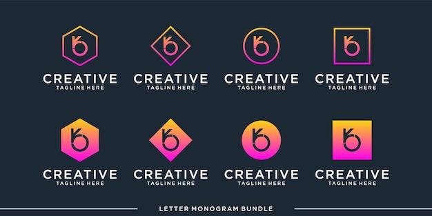 Imposta il modello di progettazione del logo b iniziale dell'icona del monogramma