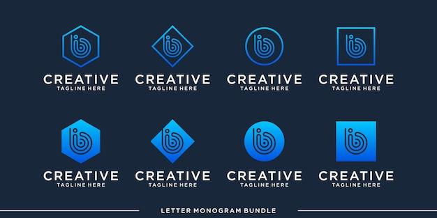 Imposta il modello di progettazione del logo iniziale dell'icona del monogramma b