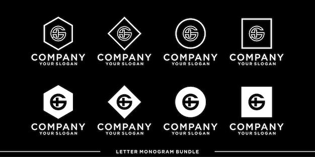 Imposta l'icona del monogramma iniziale g, modello di progettazione del logo h