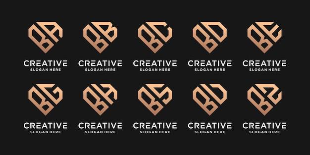 Set di monogramma logo design lettera iniziale b combinato con altri nel concetto di diamante