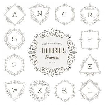 Insieme del modello di logo del monogramma con le strutture calligrafiche dell'ornamento elegante di flourishes - illustrazione