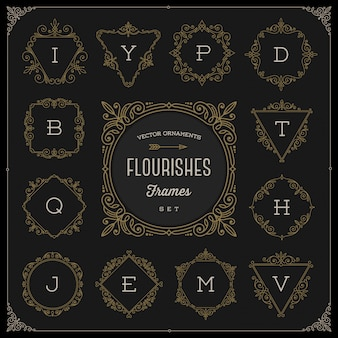 Set di modello di logo monogramma con fiorisce cornici ornamento calligrafico elegante - illustrazione