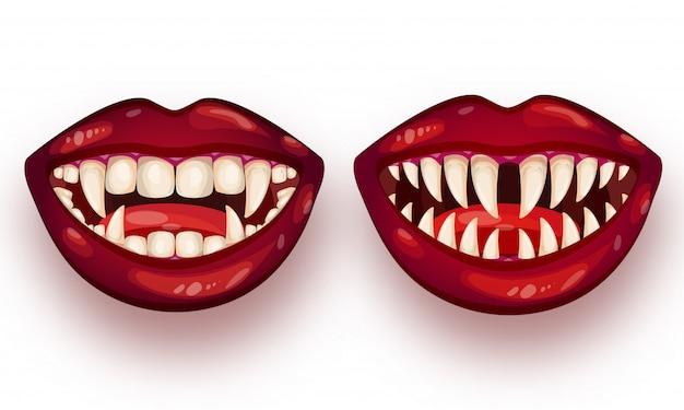 Set di bocca mostro su bianco.
