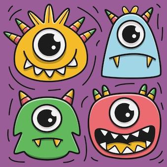 Set di mostri fumetto doodle carattere