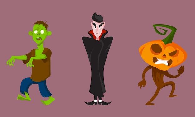 Set di mostri in diverse pose. personaggi di halloween in stile cartone animato.