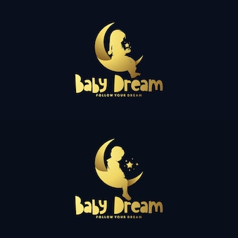 Set di luna e design logo bambino sognante Vettore Premium