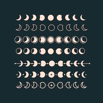 Set di illustrazioni delle fasi lunari fase del tramonto della luna