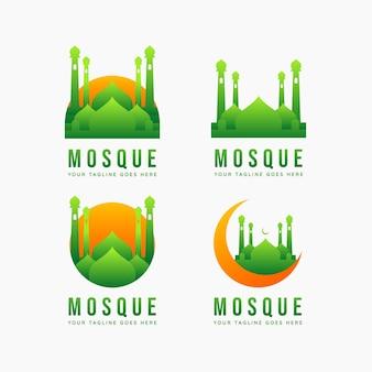 Insieme dell'illustrazione di vettore del modello dell'icona del logo piatto minimalista del punto di riferimento islamico della moschea