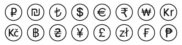 Insieme dell'icona dei simboli di valuta più utilizzati